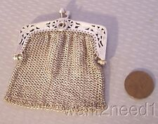 """antique solid 800 SILVER MESH PURSE 2.5"""" doll coin divided inside pierced frame"""