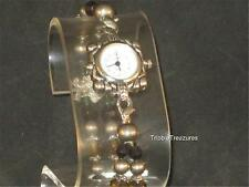 VTG LADIES GENEVA QUARTZ WRISTWATCH BEADED BAND ROUND WHITE FACE! CUTE!  z229