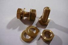 M10X25 BRASS HEX HEAD BOLTS NUTS & WASHERS (PACK 0F 2) BRASS SET SCREWS X 2