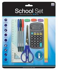 STATIONERY SET BACK TO SCHOOL PROTRACTOR PENS RULER HB PENCILS CALCULATOR