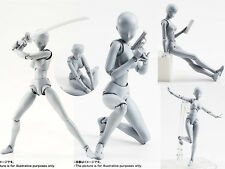 30 Parts Female Muscle Nude Movable Limbs Body Grey Figurine Figure No Box