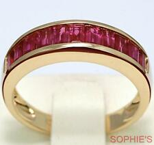 ~Baguette Cut Natural Ruby Anniversary Band Ring Channel Set In 18K Yellow Gold~