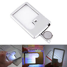 3x 6x LED Light Jewelry Magnifier Loupe Credit Card Shaped Lens Magnifying Glass