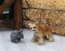 Miniature Dollhouse FAIRY GARDEN Accessories ~ Tiny Tabby Cat & Gray Mouse ~ NEW