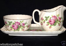 ADDERLEY OPEN SUGAR BOWL CREAMER & TRAY SET PINK ROSES BUDS FLOWERS SWIRLED GOLD