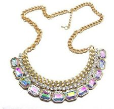 European Fashion Charm Gold Plating White Color Crystal collar Bib Necklace