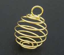 100PCs Gold Plated Spiral Bead Cages Pendants Findings 18x15mm