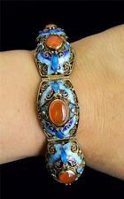 Vintage Chinese Export Carnelian Enamel Sterling Vermeil BIG Bracelet
