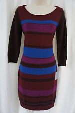 Marc New York Andrew Marc Sz S Red Multi Color 3/4 Sleeve Causal Sweater Dress