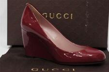 GUCCI GG CHARLEN WEDGE PATENT LEATHER PUMP SHOES 37/6.5 $595