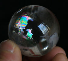 Rainbow !! 91g 40mm Rare Natural smoky Quartz Crystal Sphere Ball Healing Y265