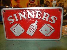 VTG Hot Rod SINNERS Made in USA Custom Car Club Plaque LEADsled Speed Shop Prop