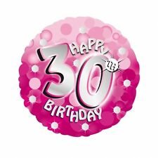 "Pink Sparkle Age 30 30th 18"" Birthday Helium Foil Balloon"