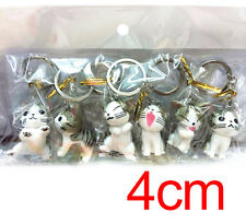 New Mobile Phone Strap Gray cute Home Charm Cat Pendant Key Chain 6 pcs/set