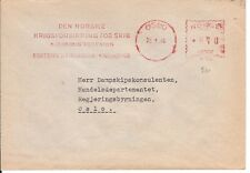 "Norway WW2 ""WAR RISK INSURANSE FOR SHIPS "" meter stamp cover 1945"