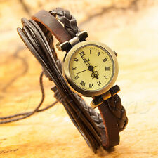 Retro Vintage Lady Women's Girls Bracelet Leather Quartz Watch 002