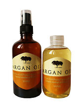 PURE MOROCCAN ARGAN OIL 100ML X 2 - 1 AMBER GLASS  PUMP + 1 PET PLASTIC REFILL