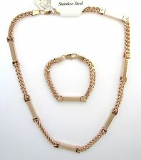 SET OF 2 ROSE GOLD S/ STEEL WHEAT CUBAN CHAIN THICK NECKLACE,BRACELET-MSRP $280
