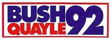 1992 George Bush, Dan Quayle Re-Election Campaign Bumper Sticker: Bush Quayle 92