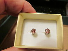 geniune pink zircon earrings 5mm round 925 ss wg plated .45ct