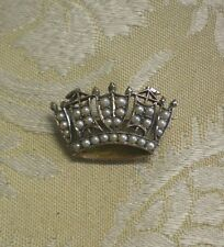 Antique English 9K 9CT Gold & Seed Pearl Encrusted Crown Pin Brooch