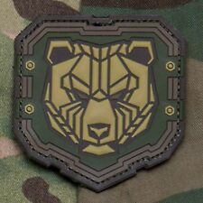 INDUSTRIAL BEAR Grizzly 3D PVC HOOK Badge Morale Military Patch - Multicam
