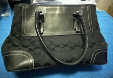 COACH HAMPTON SIG Black Jacquard Carry All/Satchel/Tote F11220
