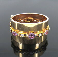 1950's Retro 4.80ct Diamond & 19.0ct Amethyst 18K & 14K Gold Cuff Bangle
