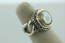 Michael Dawkins Sterling Silver 925 Cream Pearl Ring with Gold Accent - Size 6