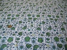 PRINTED COTTON -SYMETRIC GARDEN-WHITE/GREEN/BLUE-DRESS/CRAFT FABRIC -FREE P+P