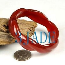 61mm Hand Carved Carnelian / Red Agate Twist Bangle Bracelet