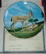 W S George Fine China Collectors Plate THE SLENDER HORNED GAZELLE Boxed
