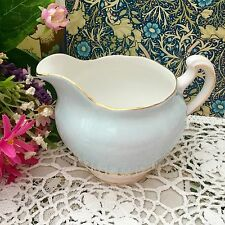 COLCLOUGH BONE CHINA 1950s MILK JUG - HARLEQUIN BLUE & WHITE GILDED DOUBLE RING