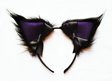 Australian Handmade Cosplay Cat Ears Headband Black Fur Purple Hens Party Night