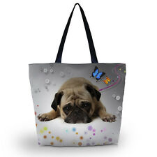 Cute Pug Women Bag Tote Shoulder Bags Handbag Shopper Shopping Cabas satchel