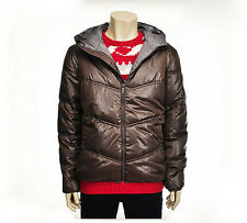 Chris Mens Casual Two Tone Hooded Puffer Jacket Jumper Brown Size M NWT
