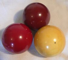 "3 Vintage/Antique' 2-7/16"" Bakelite Carom Billiard Set french 1950 DIAPHANE"