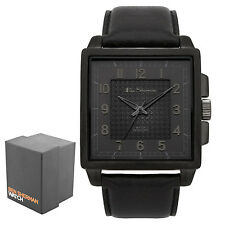 Ben Sherman Gents Black Dial Analogue Textured Black Leather Strap Watch BS029