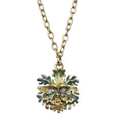 NEW KIRKS FOLLY ENCHANTED FOREST MINI GREEN MAN NECKLACE  GOLDTONE
