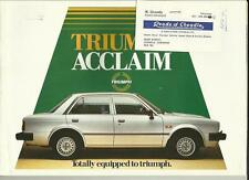TRIUMPH ACCLAIM HL, HLS AND CD SALES BROCHURE EARLY 80's