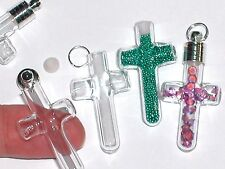 1 Glass mini fill arms Cross bottles Vials charms beads religious pendant