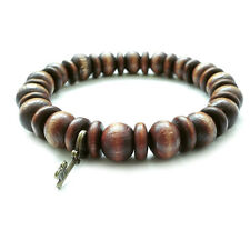 mens shamballa beaded stretch bracelet wristband cuff wooden beads KEY pendant