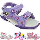 New White Pink Velcro Girls Flat Summer Sandals Shoes Size UK 1 2 Kids 6 7 8 9