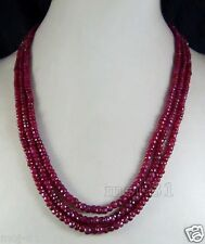 """Genuine Top NATURAL 3 Rows 5x8mm FACETED BRAZIL RED RUBY BEADS NECKLACE 18"""""""