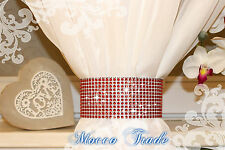 """2x RED Curtain Clip On Holder Tie Backs """"Sew on"""" Hook and Loop -40 cm"""