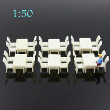 ZY02050 6 sets White Square Dining Table Chair Settee Railway Model 1:50 O Scale