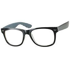 Black Checkered Medium Geek Nerd Clear Lens Glasses UV Ray Vtg Celebrity Style