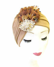 Tan Brown Gold Pheasant Feather Turban Headpiece Vtg Cloche 1940s Hat Hair 1341