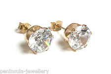 9ct Gold Round 7mm CZ Studs Earrings Gift Boxed Made in UK