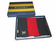 Rugby Ralph Lauren Polo Red Black Collegiate Strip Wool Neck Scarf